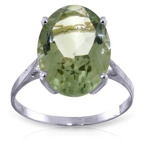 14K. SOLID GOLD RING WITH NATURAL GREEN AMETHYST
